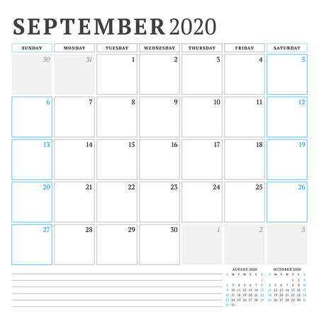 September 2020. Calendar planner stationery design template. Vector illustration. Week starts on Sunday