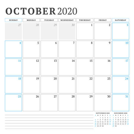October 2020. Calendar planner stationery design template. Vector illustration. Week starts on Sunday 矢量图像