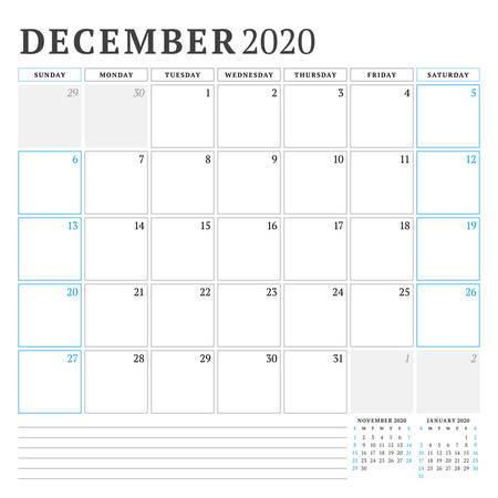 December 2020. Calendar planner stationery design template. Vector illustration. Week starts on Sunday