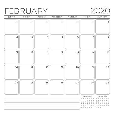 February 2020. Monthly calendar planner template. Minimalist style. Vector illustration. Week starts on Sunday Illustration