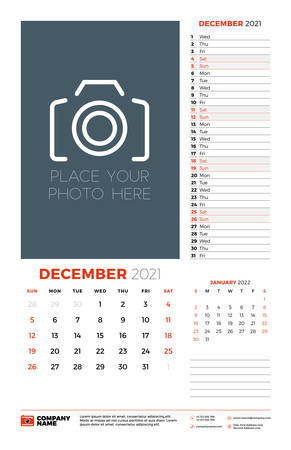 Wall calendar planner template for December 2021. Week starts on Sunday. Stationery design template. Vector illustration