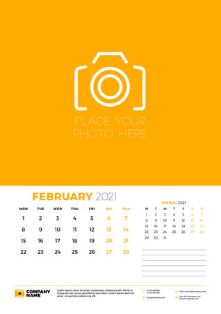 Calendar for February 2021. Week starts on Monday. Wall calendar planner template. Vector illustration