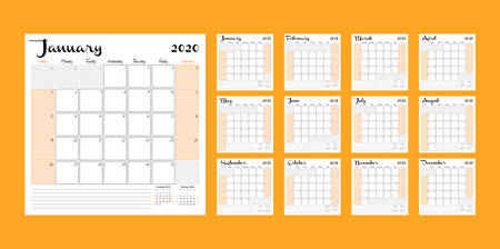 Calendar 2020. Monthly calendar planner printable template. Vector illustration. Week starts on Sunday