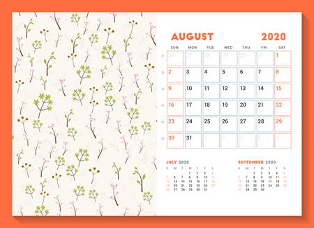 Desk calendar template for August 2020. Week starts on Sunday. Design template with cute floral pattern. Vector illustration