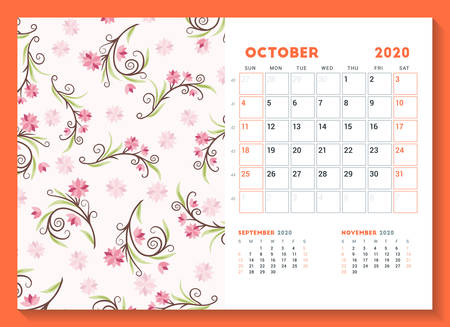 Desk calendar template for October 2020. Week starts on Sunday. Design template with cute floral pattern. Vector illustration