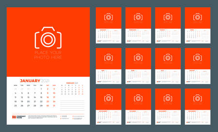 Wall calendar template for 2021 year. 12 pages. Week starts on Monday. Vector illustration 矢量图像