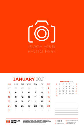 Calendar for January 2021. Week starts on Sunday. Wall calendar planner template. Vector illustration