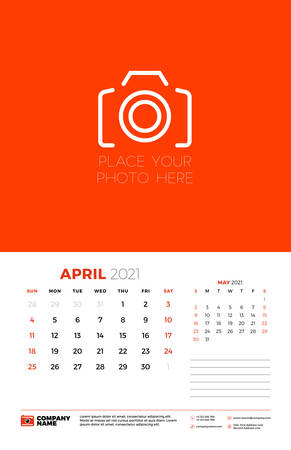 Calendar for April 2021. Week starts on Sunday. Wall calendar planner template. Vector illustration