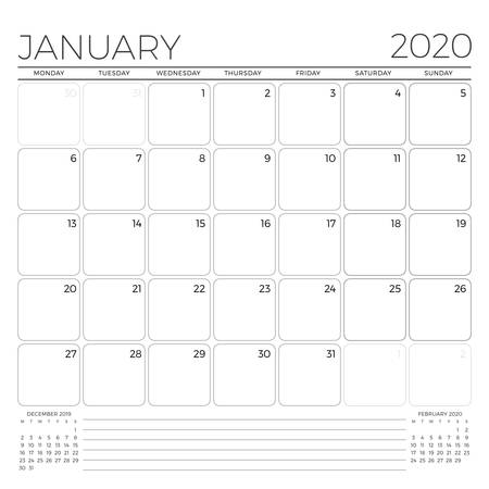 January 2020. Monthly calendar planner template. Minimalist style. Vector illustration. Week starts on Monday