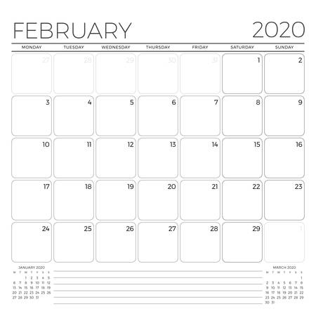 February 2020. Monthly calendar planner template. Minimalist style. Vector illustration. Week starts on Monday 矢量图像