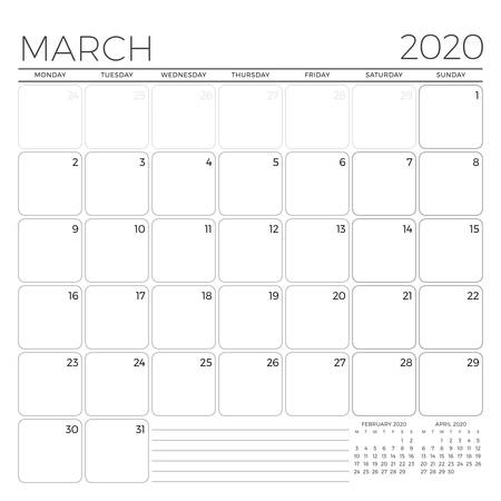 March 2020. Monthly calendar planner template. Minimalist style. Vector illustration. Week starts on Monday