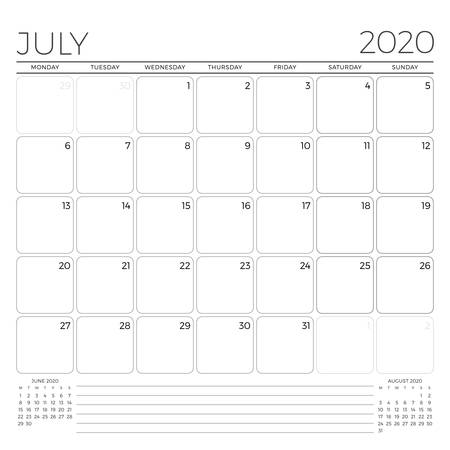 July 2020. Monthly calendar planner template. Minimalist style. Vector illustration. Week starts on Monday