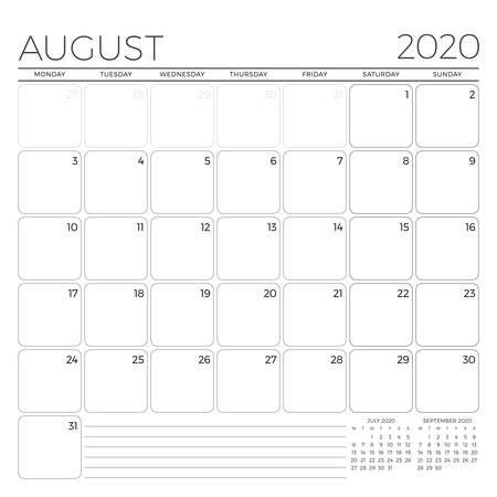 August 2020. Monthly calendar planner template. Minimalist style. Vector illustration. Week starts on Monday 矢量图像