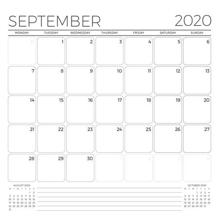 September 2020. Monthly calendar planner template. Minimalist style. Vector illustration. Week starts on Monday 矢量图像