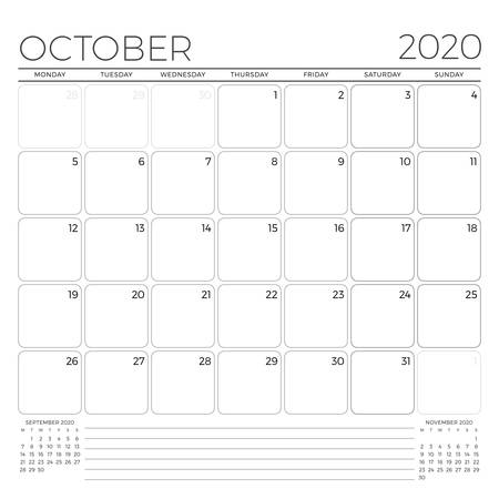 October 2020. Monthly calendar planner template. Minimalist style. Vector illustration. Week starts on Monday