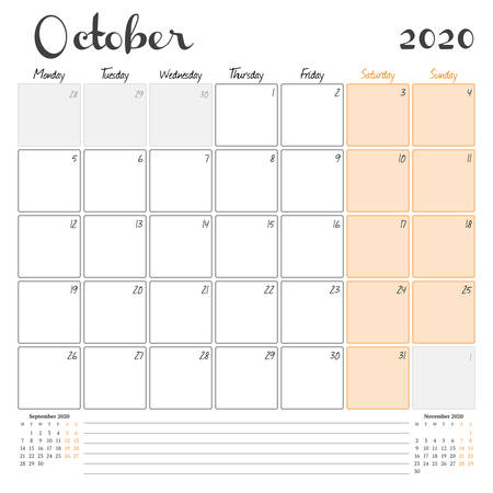 October 2020. Monthly calendar planner printable template. Vector illustration. Week starts on Monday 矢量图像