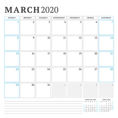March 2020. Calendar planner stationery design template. Vector illustration. Week starts on Sunday 矢量图像
