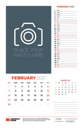 Wall calendar planner template for February 2021. Week starts on Sunday. Stationery design template. Vector illustration