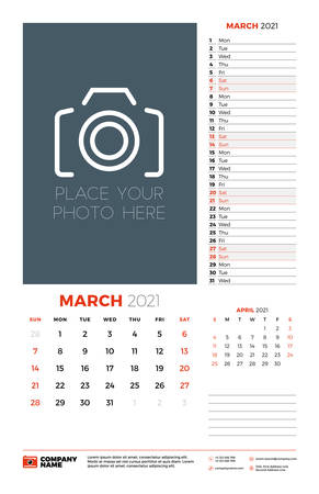 Wall calendar planner template for March 2021. Week starts on Sunday. Stationery design template. Vector illustration 矢量图像
