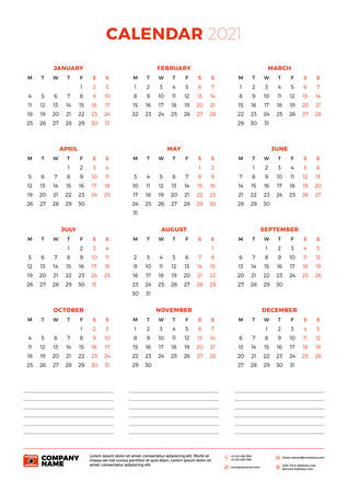 Calendar for 2021 year. Week starts on Monday. Printable vector stationery design template