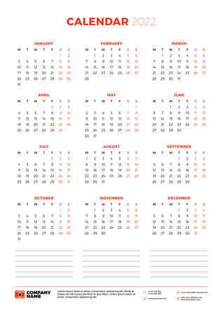 Calendar for 2022 year. Week starts on Monday. Printable vector stationery design template