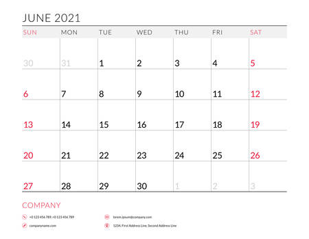 June 2021. Monthly calendar planner printable template. Vector illustration. Week starts on Sunday