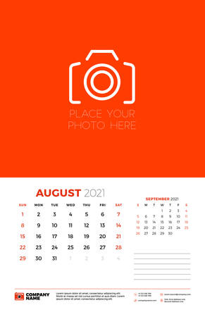 Calendar for August 2021. Week starts on Sunday. Wall calendar planner template. Vector illustration