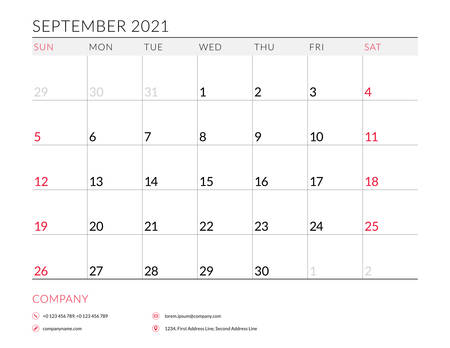 September 2021. Monthly calendar planner printable template. Vector illustration. Week starts on Sunday