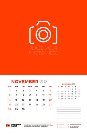 Calendar for November 2021. Week starts on Sunday. Wall calendar planner template. Vector illustration