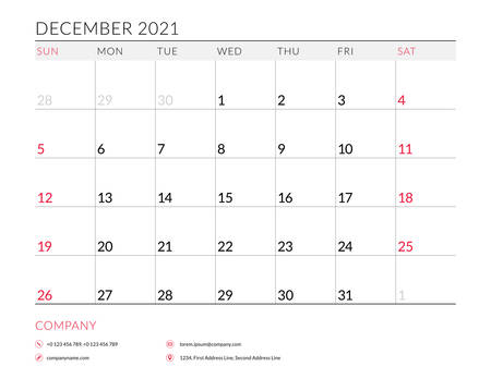 December 2021. Monthly calendar planner printable template. Vector illustration. Week starts on Sunday