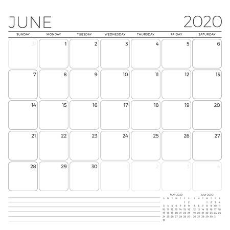 June 2020. Monthly calendar planner template. Minimalist style. Vector illustration. Week starts on Sunday