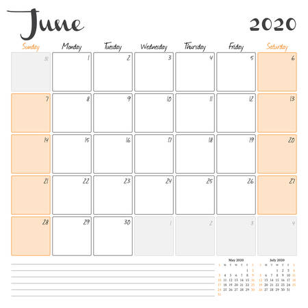 June 2020. Monthly calendar planner printable template. Vector illustration. Week starts on Sunday