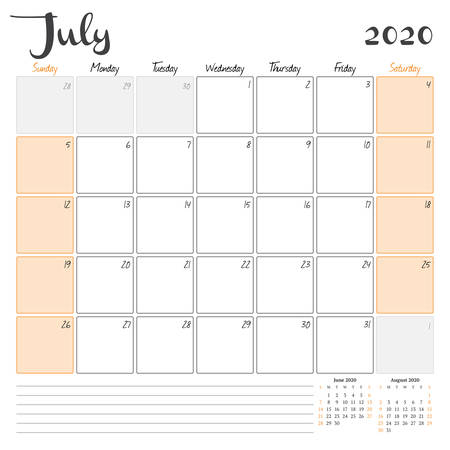 July 2020. Monthly calendar planner printable template. Vector illustration. Week starts on Sunday 矢量图像