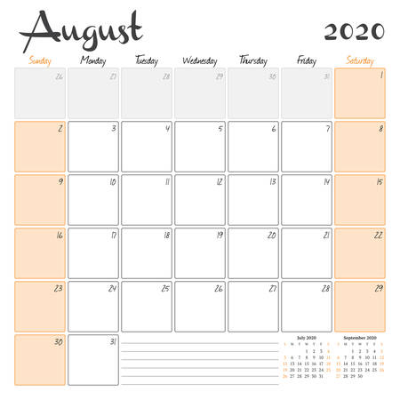 August 2020. Monthly calendar planner printable template. Vector illustration. Week starts on Sunday 矢量图像