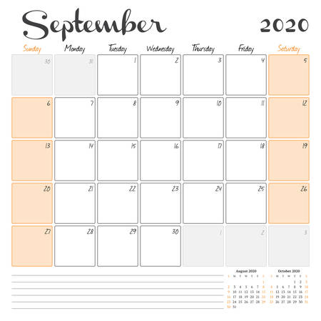 September 2020. Monthly calendar planner printable template. Vector illustration. Week starts on Sunday 矢量图像