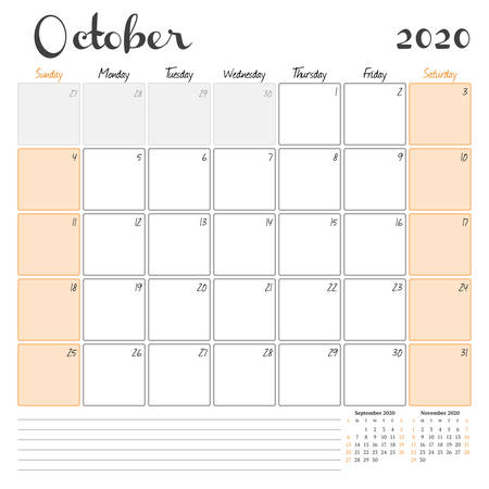 October 2020. Monthly calendar planner printable template. Vector illustration. Week starts on Sunday