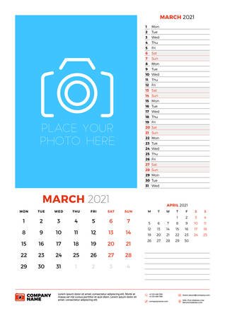 Wall calendar planner template for March 2021. Week starts on Monday. Stationery design template. Vector illustration