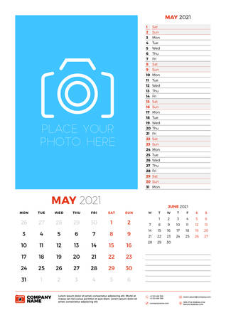 Wall calendar planner template for May 2021. Week starts on Monday. Stationery design template. Vector illustration