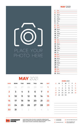 Wall calendar planner template for May 2021. Week starts on Sunday. Stationery design template. Vector illustration