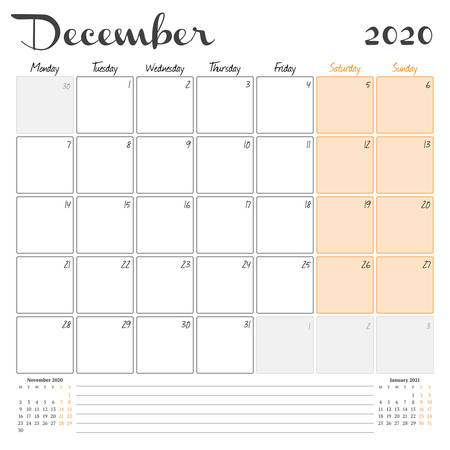 December 2020. Monthly calendar planner printable template. Vector illustration. Week starts on Monday
