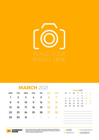 Calendar for March 2021. Week starts on Monday. Wall calendar planner template. Vector illustration