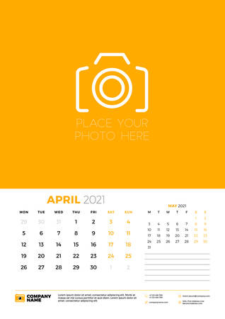 Calendar for April 2021. Week starts on Monday. Wall calendar planner template. Vector illustration 矢量图像