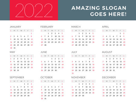 Calendar for 2022 year. Week starts on Sunday. Printable vector stationery design template