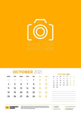 Calendario de octubre de 2021. La semana comienza el lunes. Plantilla de planificador de calendario de pared. Ilustración vectorial Ilustración de vector