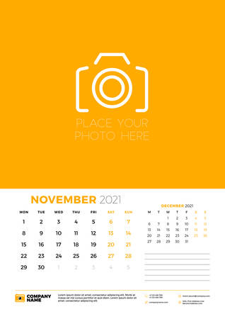Calendar for November 2021. Week starts on Monday. Wall calendar planner template. Vector illustration