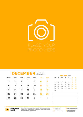 Calendar for December 2021. Week starts on Monday. Wall calendar planner template. Vector illustration 矢量图像