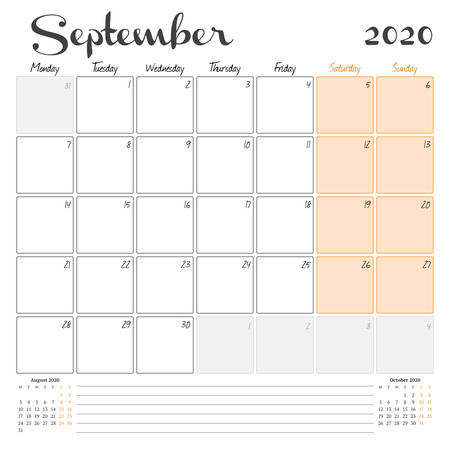 September 2020. Monthly calendar planner printable template. Vector illustration. Week starts on Monday 矢量图像