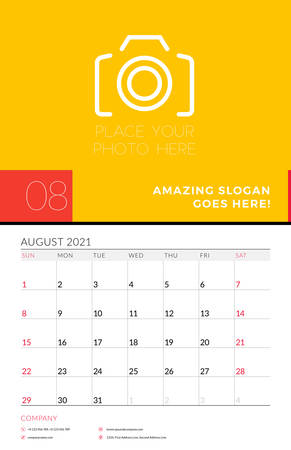 Wall calendar planner template for August 2021. Week starts on Sunday. Stationery design template. Vector illustration 矢量图像