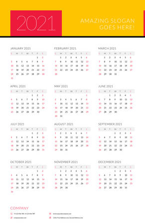 Calendar for 2021 year. Week starts on Sunday. Printable vector stationery design template