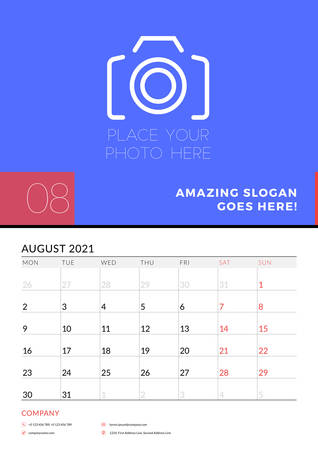 Wall calendar planner template for August 2021. Week starts on Monday. Stationery design template. Vector illustration